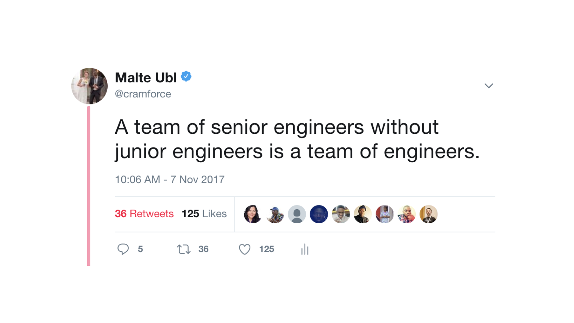 Tweet saying: A team of senior engineers without junior engineers is a team of engineers.