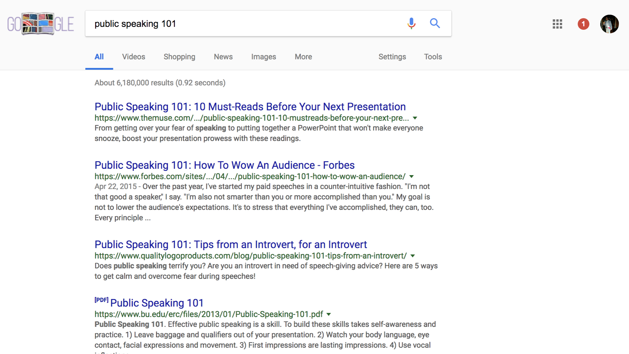 "Google Search query screenshot for ""public speaking 101"""