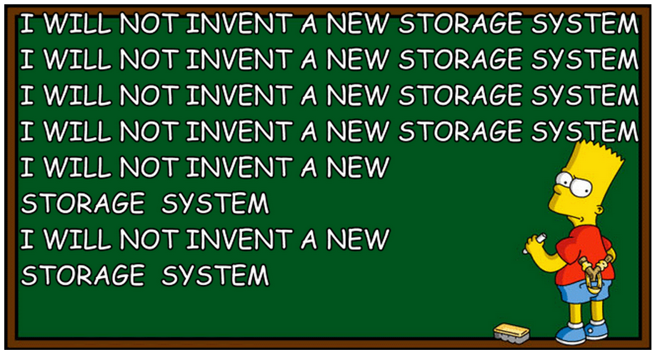 Bart system writing on blackboard: I will not invent a new storage system